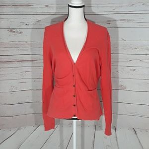 100% cotton large Madewell cardigan orange